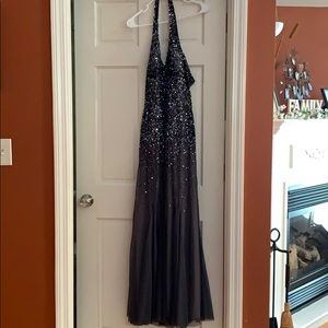 Silver sequined prom dress